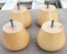 4 X BUn Feet Honey Finish Beech bun Feet with threads 7cm tall