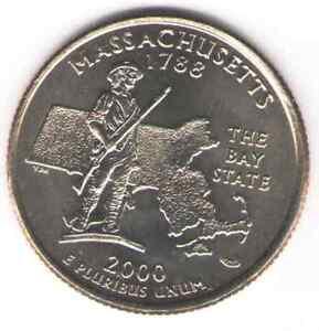 US. 2000-D. MA. Massachusetts Statehood (1788) Quarter. Uncirculated.