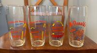 Four Vintage 1995 McDonald's Promotional Glass Libbey Cups Collectables Lot Mint