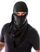 Mens Ninja Terrorist Black Hood Mask Balaclava Bandit Warrior Fancy Dress Outfit