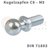 Kugelzapfen 8mm M5 DIN 71803 Kugelkopf Kugel Zapfen Kopf Gasfeder Audi Opel VW