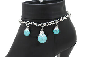 Women Silver Metal Chain Western Boot Bracelet Shoe Charm Turquoise Blue Balls