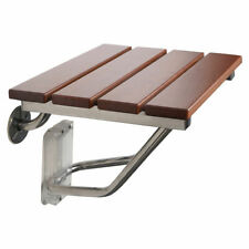New Folding Bath Seat Bench Shower Chair Wall Mount Solid Wood Construction