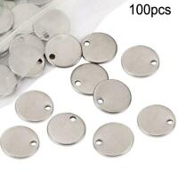 100pcs Round Tags Stainless Steel Stamping Blanks Nice DIY Pendant Jewelry S8I2