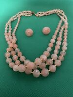 Vintage Estate Gold Tone Faux Pearl Pink Bead Multi Strand Choker Necklace