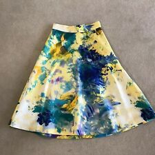 H&M Yellow Patterned Midi Flared Gorgeous Skirt Size AU 8 Or US 6