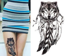 Temporary Tattoo Black Wolf Dreamcatcher Waterproof