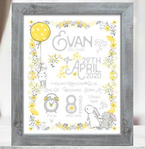 Rabbit Personalised New Baby Boy Gift, Christening Baptism Baby Gift Birth Print