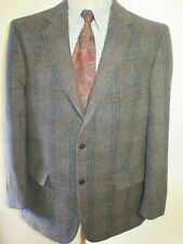 "Genuine Harris Tweed men's brown check blazer Jacket 44"" R Euro 54 R"