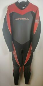 O'neill Men's Full Wetsuit XL Heat 3.2 Black Grey Red Trim Spell Out Back Zip