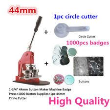 """1-3/4""""44mm Button Maker Machine Badge Press+1000 Button Supplies+Circle Cutter"""