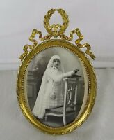 "6""  Antique French Gilt Bronze Picture Frame - Louis XVI Ribbon"