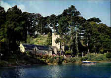 Great Britain Postcard St. Just In Roseland Church from the creek, Kirche color