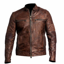 Mens Biker Vintage motorcycle Distressed Brown Cafe Racer Real Leather Jacket
