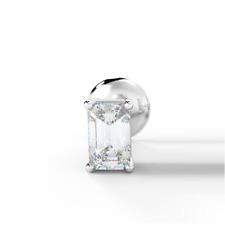 0.10ct Emerald Cut Diamond Men's Single Stud Earring, White Gold UK Hallmarked