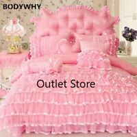 Princess  Pink Cream Bedding Set Luxury Bed Cover Duvet Cover Bed Sheets Set