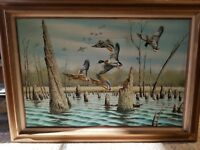 B Grant Oil Painting Original Art on Canvas 24 x 36 Mallard Ducks Water Cypress