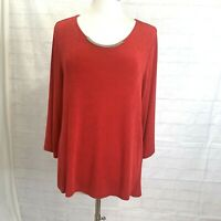 Chicos Travelers L Sz 2 Top Tunic Red Silver Bar 3/4 Sleeve #V