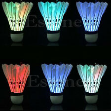 4pcs Dark Night Colorful LED Badminton Shuttlecock Birdies Lighting Feather