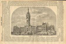 Glasgow University Buildings, Architecture, Vintage, 1873 Antique Print.