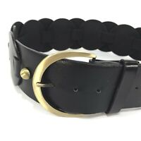 Magaschoni Woven Leaver Black Leather Waist Belt Womens Sz S Small Wide NWOT