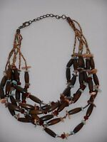 """Unique and Lovely Multi Strand Mixed Materials Necklace 24"""" Long ~ Drop is 9"""""""