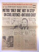 Vintage November 22 1957 Toronto Daily Star Newspaper Headline Defence K575