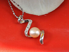 """QUALITY TWISTED PINK PEARL AND RHINESTONE 17"""" PENDANT NECKLACE"""