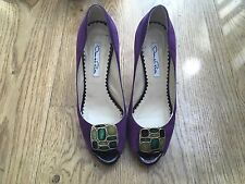 Oscar de la Renta jewel suede peep-toe platform Shoes Pumps Size 37 UK 4 US 7