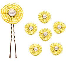 6 épingles pics cheveux chignon mariage mariée fleur vichy jaune perle blanche