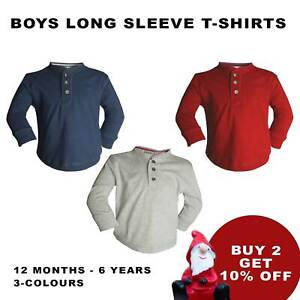 BOYS LONG SLEEVE T-SHIRT SWEATSHIRT BRANDED100% COTTON 12M-6Y [DT-09]