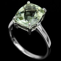 Sterling Silver Genuine Natural Green Amethyst Solitaire Ring Size R 1/2  US 9