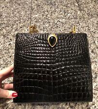 TANO 1950's France Black Crocodile Bag