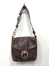 Coach Shoulder Bag in Dark Brown, Patent Leather and Signature Coach Cloth