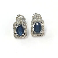 1.2 cttw Natural Blue Sapphire & Diamond Solid 14k White Gold Post Stud Earrings