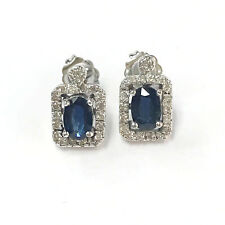 1.2 ctw Natural Blue Sapphire & Diamond Solid 14k White Gold Post Stud Earrings