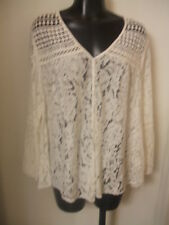 Karen Kane Large Cream Multi Lace Top Seascape NWT $118 Button Front Layer L