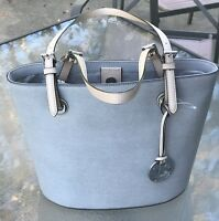 NWT Michael Kors Jet Set Item Medium Leather Tote Pearl Grey Purse Bag