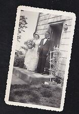 Antique Vintage Photograph Wedding Bride & Groom Leaving House -Gorgeous Flowers