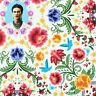Frida Kahlo Floral Cotton Fabric (AULD-19611-1 White) from Robert Kaufman BTY