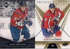 Washington Capitals Alex Ovechkin 2 Card Lot 16/17 Trilogy & 11/12 Limited /299