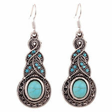 Retro 1 pair Natural Turquoise Tibet Silver exquisite Crystal Earrings Dangle