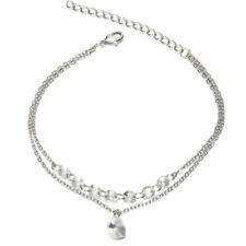 Women Sliver Love Heart Charms Rhinestone Cuff Bangle Bracelet Charm Jewelry