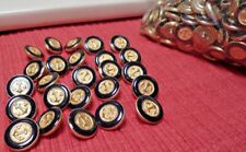 25 NEW NAUTICAL SHIRT JACKET CUFF BLUE ENAMEL GOLD BAND & Anchor Buttons 5/8 in