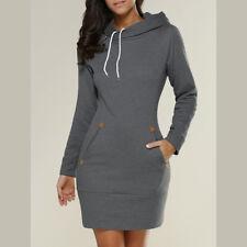 US Womens Casual Long Sleeve Hoodie Dress Hooded Sweatshirt Jumper Sweater Tops