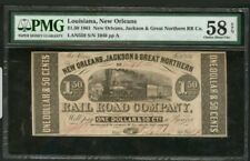 1861 $1.50  LOUISIANA NEW ORLEANS JACKSON&GREAT NORTHERN RR CO. CHOICE UNC 58EPQ