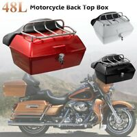 Motorcycle Luggage Scooter Rear Trunk Universal Back Top Tail Box Case Black
