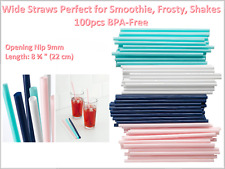 Wide Straws Perfect for Smoothie Shakes Frosty and Cocktails - Nip 9mm Opening