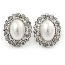 Perla de cristal blanco nupcial, claro Cristal Oval Stud Pendientes en Rodio Plateado