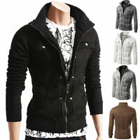 Mens Slim Fit Stand Collar Coat Tops Military Jacket Winter Zip Outwear Blazer